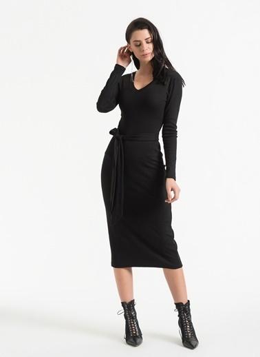 Styletag Kemerli V Yaka Elbise Siyah